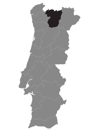 Black Location Map of Portuguese Vila Real District within Grey Map of Portugal