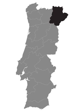 Black Location Map of Portuguese Braganca District within Grey Map of Portugal