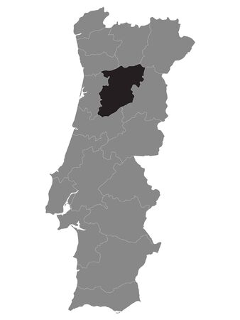 Black Location Map of Portuguese Viseu District within Grey Map of Portugal 矢量图像