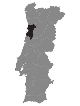 Black Location Map of Portuguese Aveiro District within Grey Map of Portugal