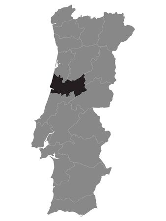 Black Location Map of Portuguese Coimbra District within Grey Map of Portugal 矢量图像