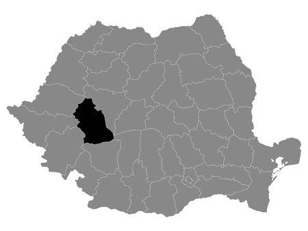 Black Location Map of Romanian Hunedoara County within Grey Map of Romania