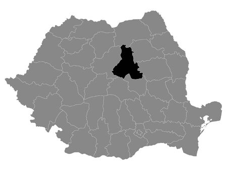 Black Location Map of Romanian Harghita County within Grey Map of Romania