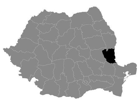 Black Location Map of Romanian Galati County within Grey Map of Romania