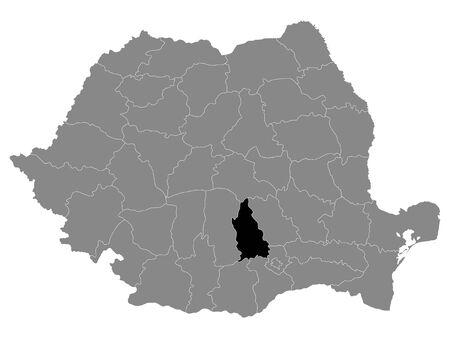 Black Location Map of Romanian Dambovita County within Grey Map of Romania Ilustracja