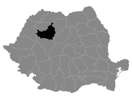 Black Location Map of Romanian Cluj County within Grey Map of Romania