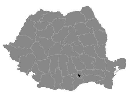 Black Location Map of Romanian Municipality of Bucharest within Grey Map of Romania