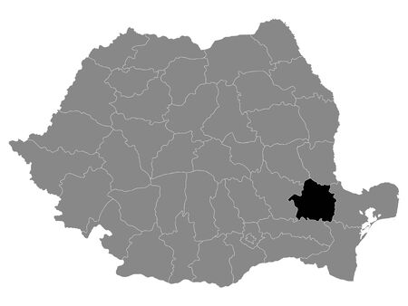 Black Location Map of Romanian Braila County within Grey Map of Romania