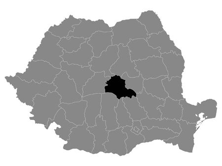Black Location Map of Romanian Brasov County within Grey Map of Romania