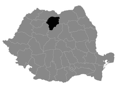 Black Location Map of Romanian BistriÈ›a Nasaud County within Grey Map of Romania