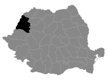 Black Location Map of Romanian Bihor County within Grey Map of Romania Ilustracja