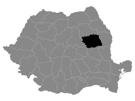 Black Location Map of Romanian Bacau County within Grey Map of Romania Ilustracja