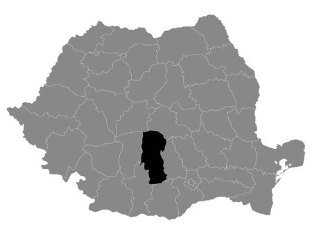 Black Location Map of Romanian Arges County within Grey Map of Romania Ilustracja