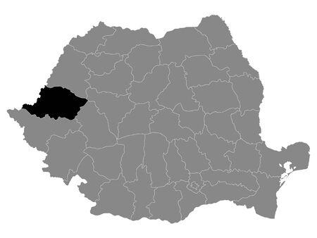 Black Location Map of Romanian Arad County within Grey Map of Romania Ilustracja