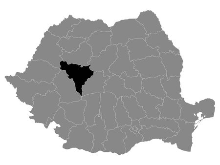 Black Location Map of Romanian Alba County within Grey Map of Romania Ilustracja