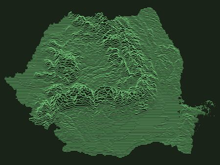 Tactical Military Emerald 3D Topography Map of European Country of Romania