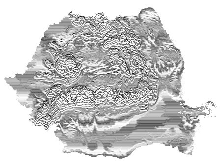 Gray 3D Topography Map of European Country of Romania
