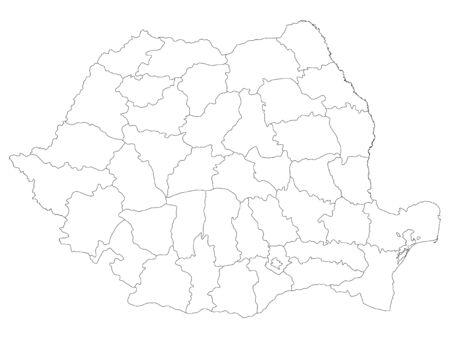 White Counties Map of European Country of Romania Ilustracja