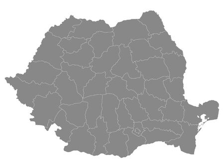 Grey Counties Map of European Country of Romania Ilustracja