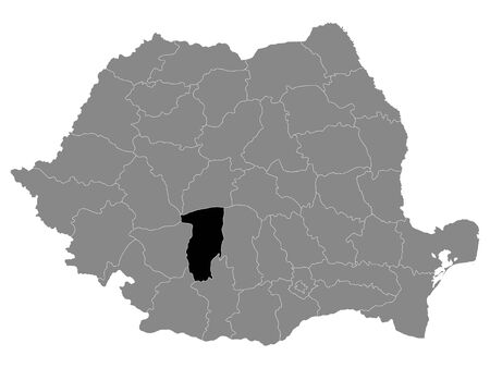Black Location Map of Romanian Valcea County within Grey Map of Romania