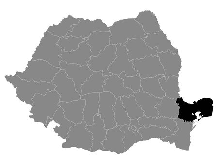 Black Location Map of Romanian Tulcea County within Grey Map of Romania