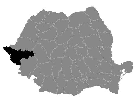 Black Location Map of Romanian Timis County within Grey Map of Romania