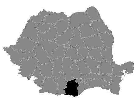 Black Location Map of Romanian Teleorman County within Grey Map of Romania