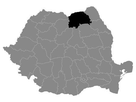 Black Location Map of Romanian Suceava County within Grey Map of Romania Ilustracja