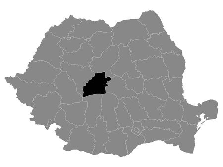 Black Location Map of Romanian Sibiu County within Grey Map of Romania