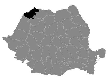 Black Location Map of Romanian Satu Mare County within Grey Map of Romania Ilustracja