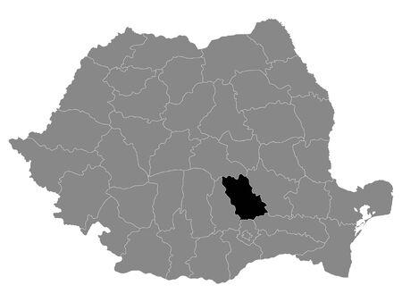 Black Location Map of Romanian Prahova County within Grey Map of Romania
