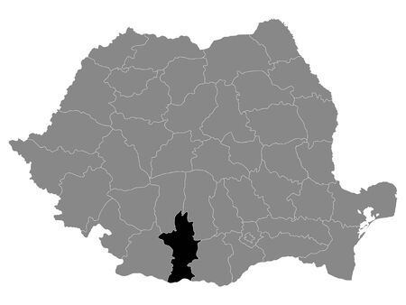 Black Location Map of Romanian Olt County within Grey Map of Romania