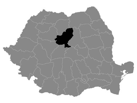 Black Location Map of Romanian Mures County within Grey Map of Romania Ilustracja
