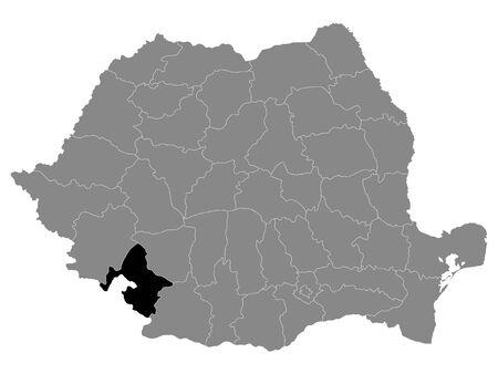 Black Location Map of Romanian Mehedinti County within Grey Map of Romania Ilustracja