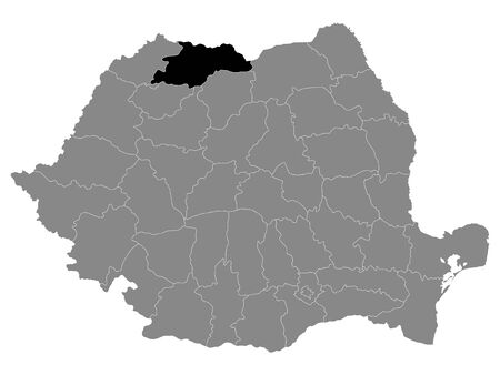 Black Location Map of Romanian Maramures County within Grey Map of Romania Ilustracja