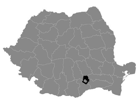 Black Location Map of Romanian Ilfov County within Grey Map of Romania