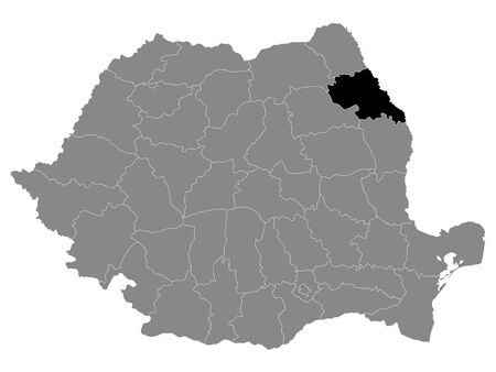 Black Location Map of Romanian Iasi County within Grey Map of Romania