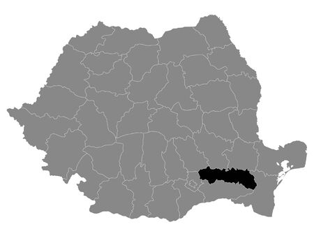 Black Location Map of Romanian Ialomita County within Grey Map of Romania