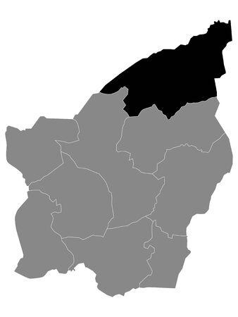 Black Location Map of Sammarinese Serravalle Castello (Municipality) within Grey Map of San Marino