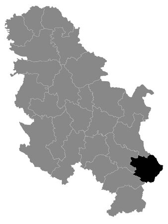 Black Location Map of Serbian District of Pirot within Grey Map of Serbia