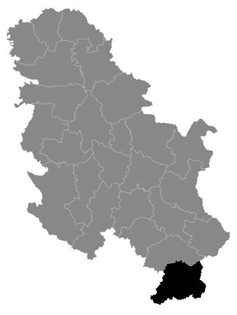 Black Location Map of Serbian District of Pcinja within Grey Map of Serbia 矢量图像