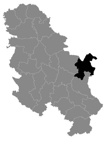 Black Location Map of Serbian District of Bor within Grey Map of Serbia