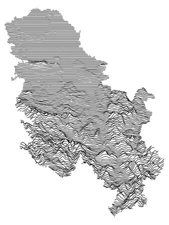 Gray 3D Topography Map of European Country of Serbia
