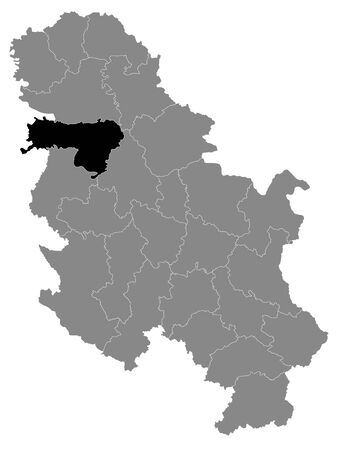 Black Location Map of Serbian District of Srem within Grey Map of Serbia