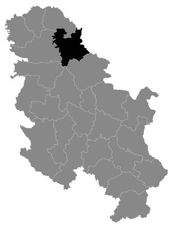 Black Location Map of Serbian District of Central Banat within Grey Map of Serbia