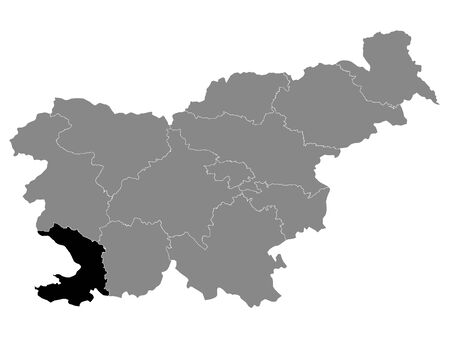 Black Location Map of Slovenian Statistical Region of Coastal–Karst within Grey Map of Slovenia