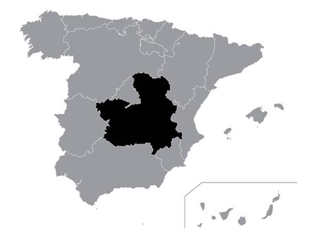 Black Location Map of Spanish Autonomous Community of Castilla La Mancha within Grey Map of Spain Иллюстрация
