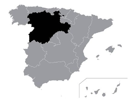 Black Location Map of Spanish Autonomous Community of Castile and Leon within Grey Map of Spain Ilustração