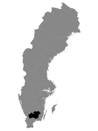 Black Location Map of Swedish County of Kronoberg within Grey Map of Sweden