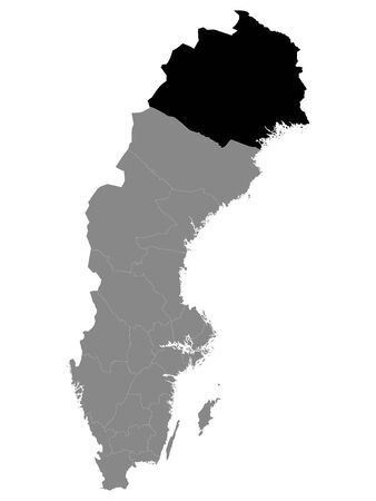 Black Location Map of Swedish County of Norrbotten within Grey Map of Sweden